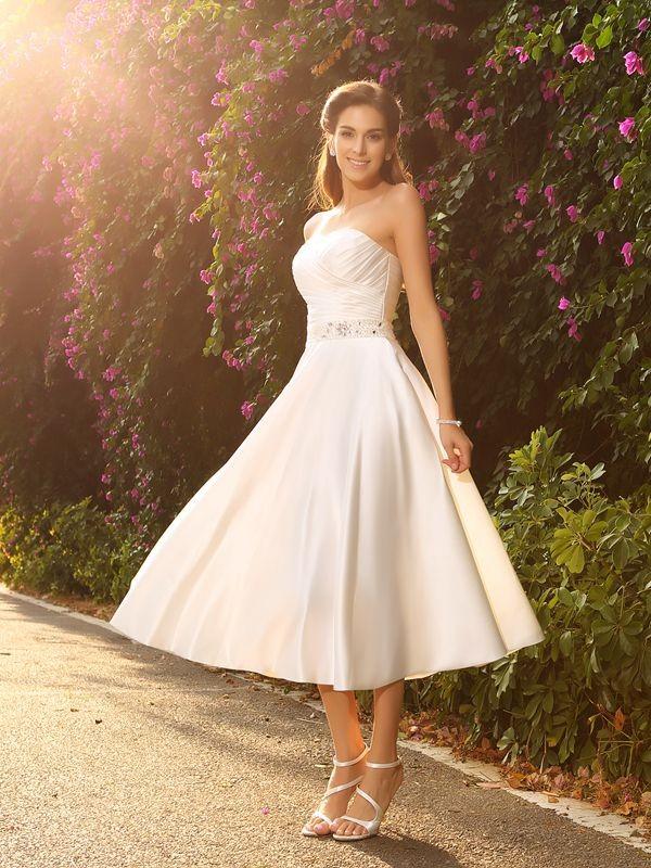 A-Linie/Princess-Linie Herzausschnitt Perlen verziert Ärmellos Kurz Satin Brautkleider