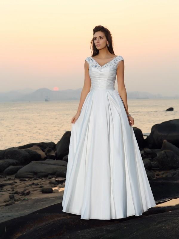 A-Linie/Princess-Linie V-Ausschnitt Perlen verziert Ärmellos Lange Taft Strand Brautkleider