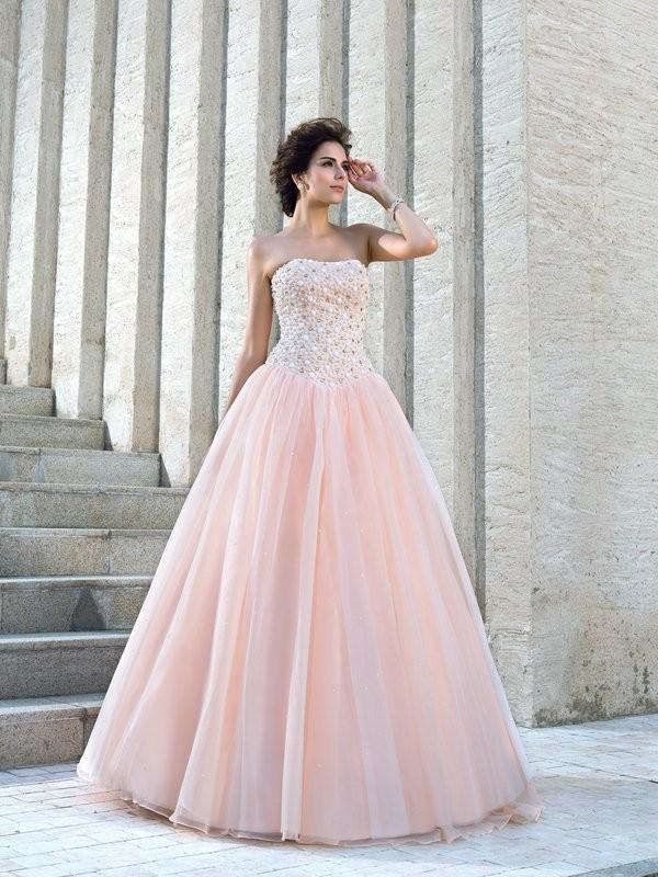 Duchesse-Linie Trägerlos Perlen verziert Ärmellos Lange Satin Brautkleider