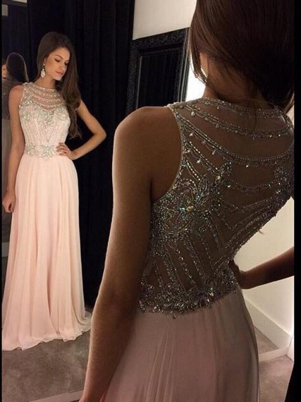 A-Linie/Princess-Stil U-Ausschnitt Ärmellos Chiffon Kristall Bodenlang Kleider