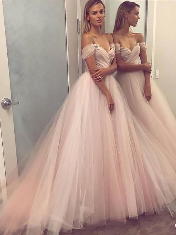 A-Linie/Princess-Stil Ärmellos Carmen-Ausschnitt Tülle Perlenstickerei Bodenlang Kleider
