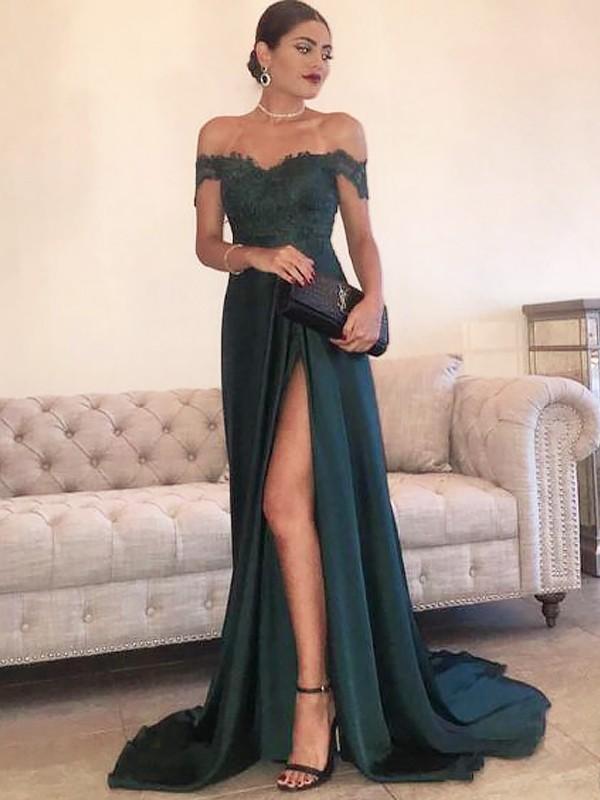 A-Linie/Princess-Stil Carmen-Ausschnitt Ärmellos Sweep/Pinsel Zug Spitze Satin Kleider