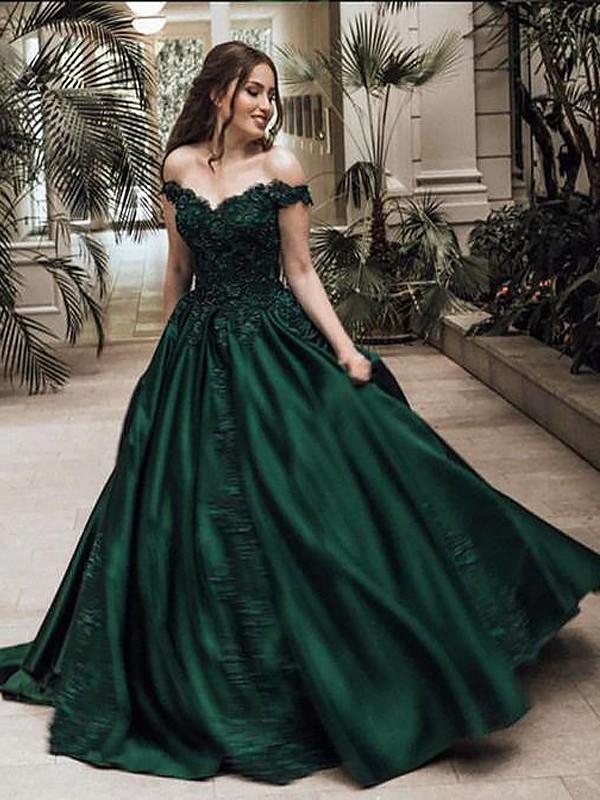 Duchesse-Linie Carmen-Ausschnitt Ärmellos Bodenlang Spitze Satin Kleider
