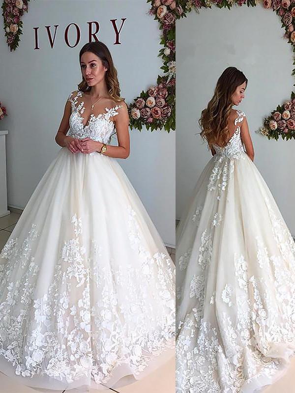 A-Linie/Princess-Stil V-Ausschnitt Hof-Schleppe Tülle Ärmellos Brautkleider
