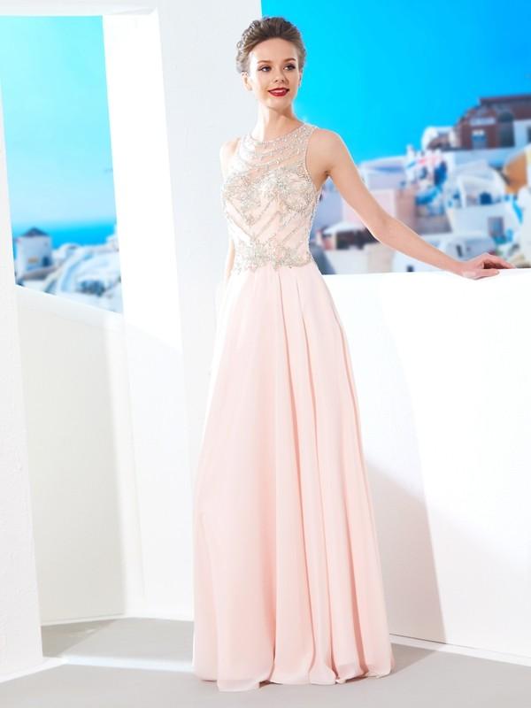 ab26a9586be A-Linie Princess-Stil U-Ausschnitt Ärmellos Chiffon Kristall Bodenlang  Kleider