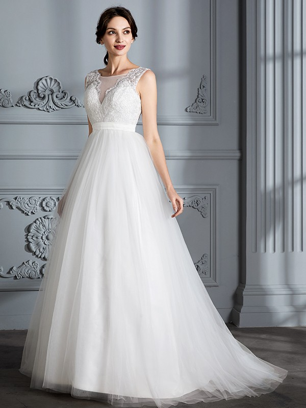 225552d03530 ... A-Line Princess Sleeveless V-neck Sweep Brush Train Tulle Wedding  Dresses ...