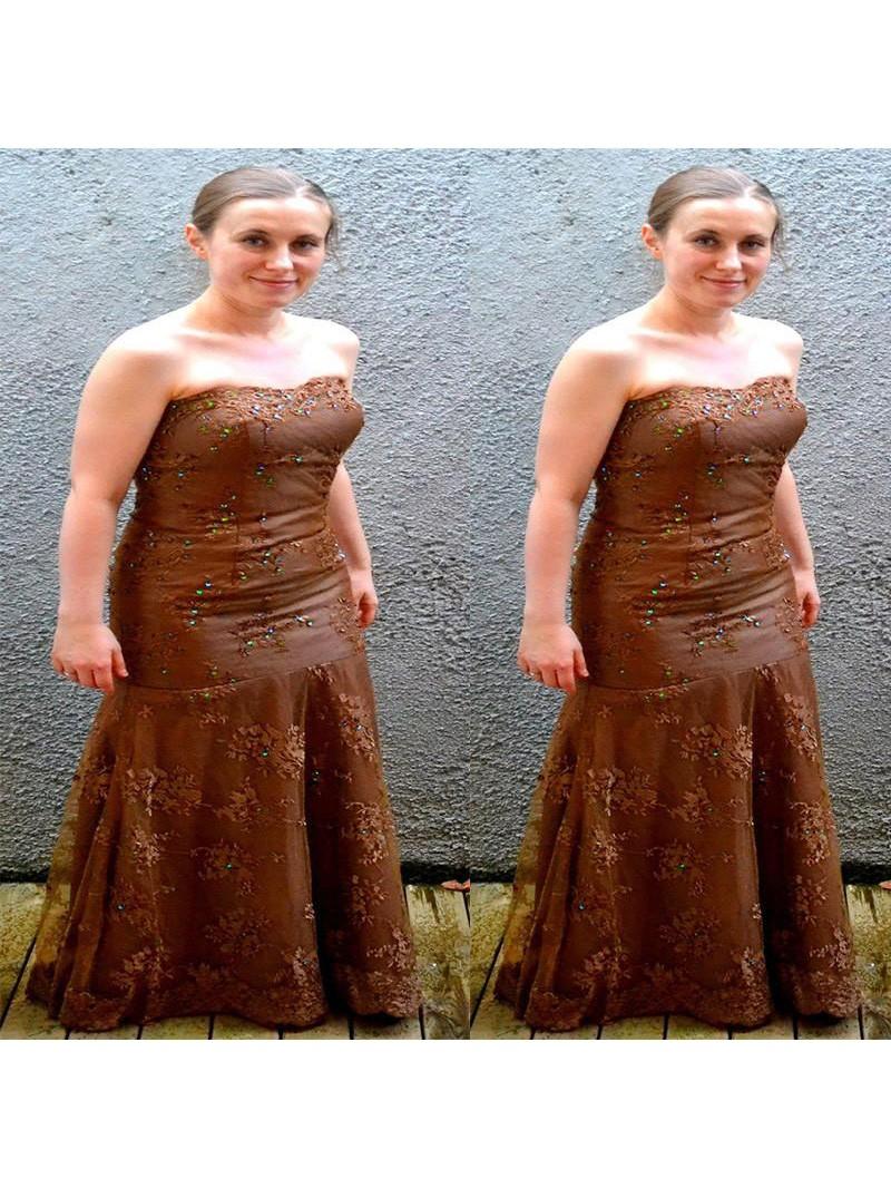 fdc884fdc17 Etui-Linie Trägerloser Ausschnitt Ärmellos Applikation Bodenlang Spitze  Kleider für die Brautmutter