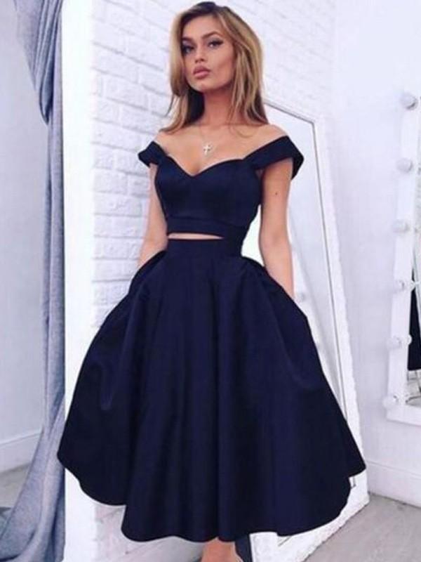 A-Linie Princess-Stil Carmen-Ausschnitt Ärmellos Knielang Satin Kleider 586528b055