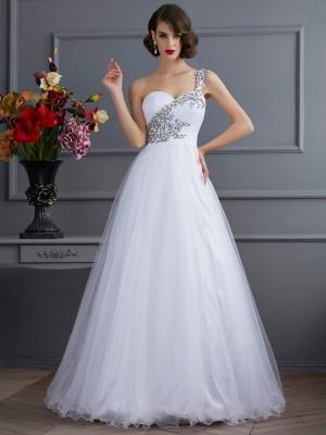 Duchesse-Linie One-Shoulder-Träger Ärmellos Perlen verziert Lange Stretch-Satin Quinceanera Kleider