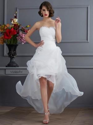 A-Linie/Princess-Linie Herzausschnitt Ärmellos Perlen verziert Hoch Niedrig Organza Brautkleider