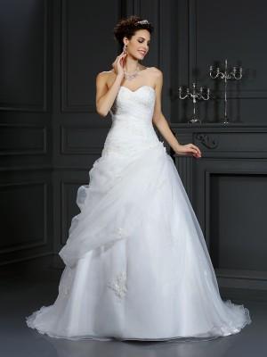 Duchesse-Linie Herzausschnitt Perlen verziert Ärmellos Lange Organza Brautkleider