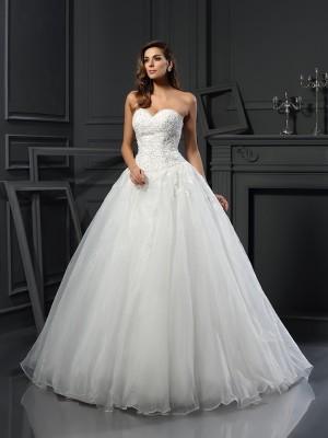 Duchesse-Linie Herzausschnitt Perlen verziert Ärmellos Lange Tüll Brautkleider
