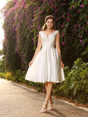 A-Linie/Princess-Linie V-Ausschnitt Perlen verziert Ärmellos Kurz Satin Brautkleider