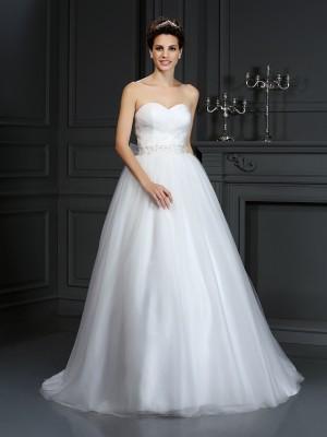 Duchesse-Linie Herzausschnitt Perlen verziert Ärmellos Lange Netz Brautkleider
