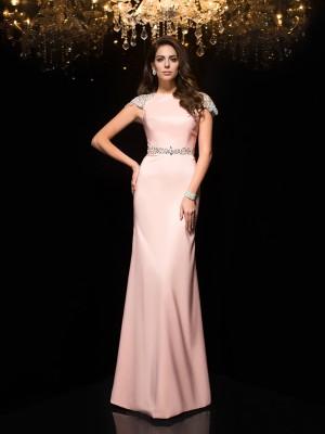 Etui-Linie Juwel-Ausschnitt Perlen verziert Kurze Ärmel Lange Satin Kleider