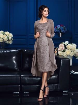 Etui-Linie Träger Ärmellos Kurz Chiffon Brautmutterkleider