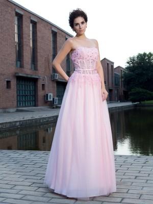 A-Linie/Princess-Linie Träger Applikationen Ärmellos Lange Netz Kleider