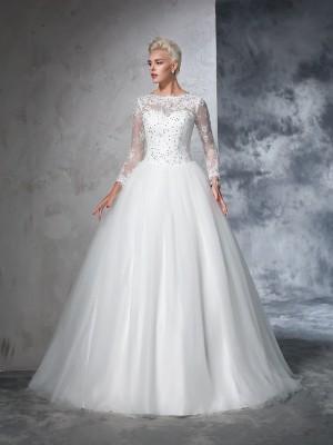 Duchesse-Linie Bateau-Ausschnitt Spitze Lange Ärmel Lange Netz Brautkleider