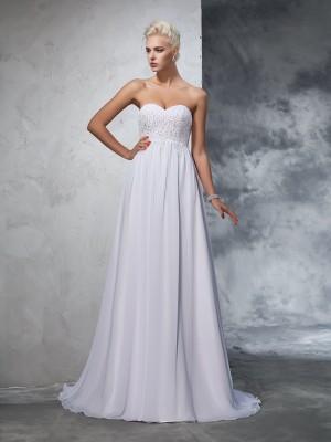 A-Linie/Princess-Linie Herzausschnitt Perlen verziert Ärmellos Lange Chiffon Brautkleider