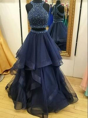 A-Linie/Princess-Stil Ärmellos Neckholder Organza Perlenstickerei Bodenlang Zwei Stück Kleider