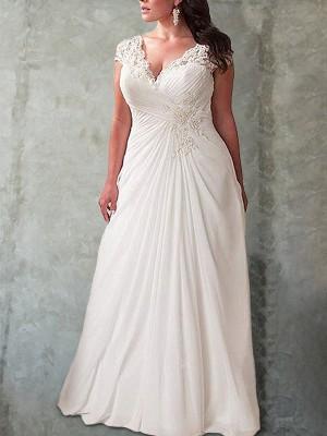 Empire-Stil Herz-Ausschnitt Ärmellos Spitze Sweep/Pinsel Zug Chiffon Plus Size Brautkleider