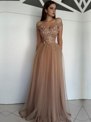 A-Linie/Princess-Stil Ärmellos Carmen-Ausschnitt Bodenlang Applikation Tülle Kleider