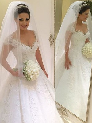Duchesse-Linie Ärmellos V-Ausschnitt Perlenstickerei Bodenlang Tülle Brautkleider