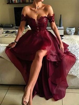 A-Linie/Princess-Stil Ärmellos Carmen-Ausschnitt Asymmetrisch Applikation Organza Kleider