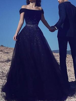 Duchesse-Linie Ärmellos Carmen-Ausschnitt Perlenstickerei Sweep/Pinsel Zug Tülle Kleider