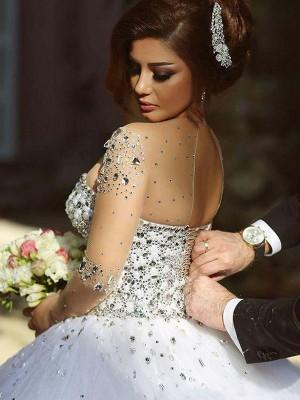 Duchesse-Linie Lange Ärmel U-Ausschnitt Hof-Schleppe Kristall Tülle Brautkleider