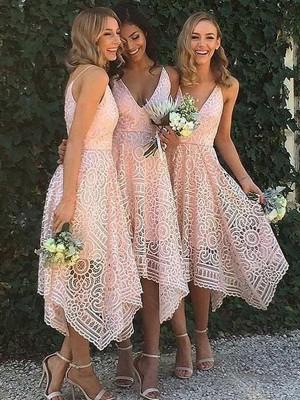 A-Linie/Princess-Stil Ärmellos V-Ausschnitt Asymmetrisch Spitze Brautjungfernkleider