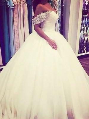 Duchesse-Linie Tülle Carmen-Ausschnitt Sweep/Pinsel Zug Ärmellos Perlenstickerei Brautkleider