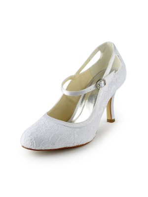 Women's Pretty Satin Stiletto Heel Pumps With Buckle White Hochzeitsschuhe