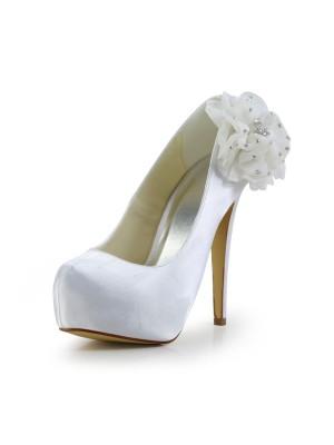 Women's Satin Stiletto Heel Closed Toe Plateauschuhe White Hochzeitsschuhe With Strasssteine