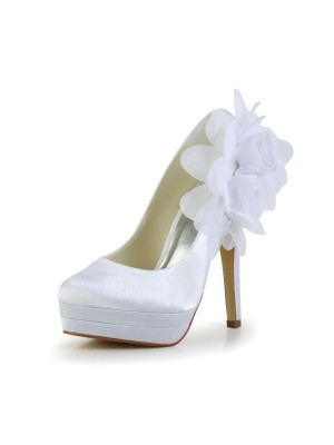 Women's Satin Stiletto Heel Closed Toe Plateauschuhe Pumps White Hochzeitsschuhe With Satin Flower