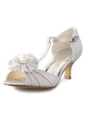 Women's Satin Stiletto Heel T-Strap Peep Toe With Flower Dance Schuhe