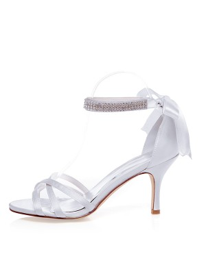 Women's Satin Peep Toe Stiletto Heel Silk Hochzeitsschuhe