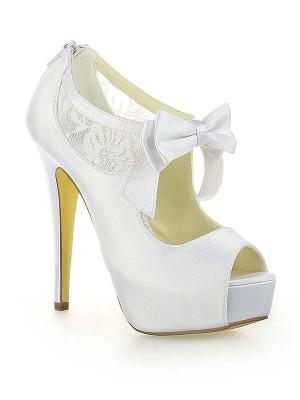 Women's Satin Spitze Plateauschuhe Peep Toe With Schleifen Stiletto Heel White Hochzeitsschuhe